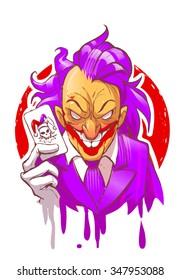 Cartoon joker character smiling holding play card violet suit hair white gloves vector illustration