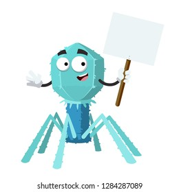 cartoon joyful bacteriophage cell mascot with tablet in hand on white background