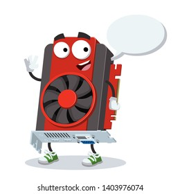 cartoon joyful computer video graphics card mascot with a speech bubble on a white background