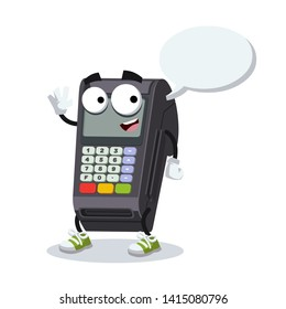 cartoon joyful EDC card swipe machine mascot with a speech bubble on a white background