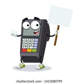 cartoon joyful EDC card swipe machine mascot with tablet in hand on white background