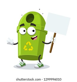 cartoon joyful green round recycle bin garbage can mascot with tablet in hand on white background