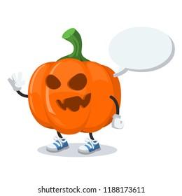 cartoon joyful halloween pumpkin mascot with a speech bubble on a white background