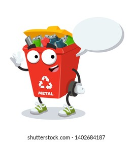 cartoon joyful red recycle garbage can for metal mascot with a speech bubble on a white background
