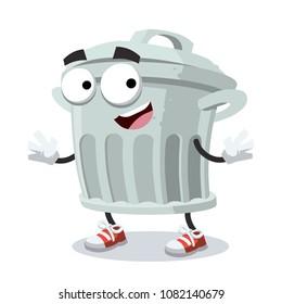 cartoon joyful trash can mascot smiling on white background