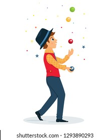 Cartoon juggler performs a circus trick.Juggler with balls.Circus performer.Vector illustration. Cartoon flat style.