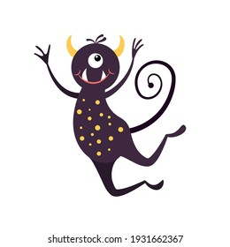 Cartoon jumping smiling monster isolated on white. Funny fantasy creature. Design for print, party decoration,  illustration,  sticker.