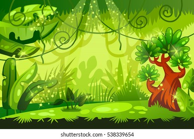 cartoon jungle background. tropical landscape. vector illustration