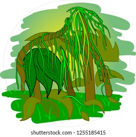 Cartoon jungle vector in round frame isolated on white background.