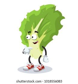 cartoon kale leaf mascot showing himself on a white background