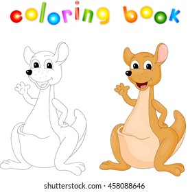 Cartoon kangaroo isolated on white coloring book