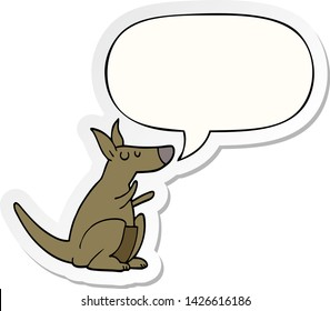cartoon kangaroo with speech bubble sticker