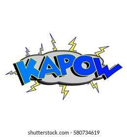 Cartoon kapow colorful text caption illustration