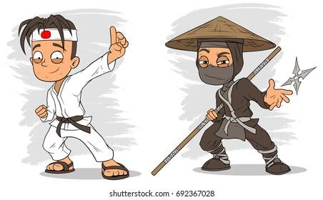 Cartoon karate boy and masked ninja with stick characters vector set