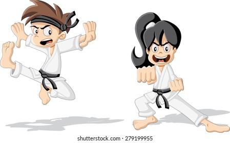 Cartoon karate kids wearing kimono training karate