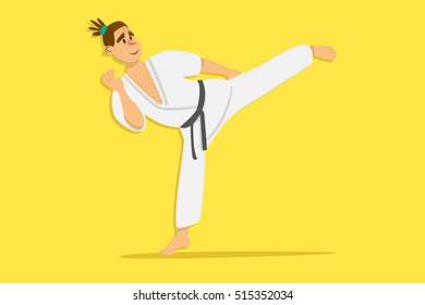 Cartoon karate man wearing kimono training. comic character on yellow background. Flat design