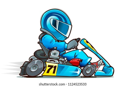 Cartoon Kart Racer. side view. Vector illustration