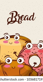 cartoon kawaii bread fresh bakery vertical banner