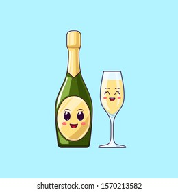 Cartoon kawaii Champagne with Cheerful face. Cute Champagne bottle with Wineglass, festive Character with Cheerful emotion. Vector illustration