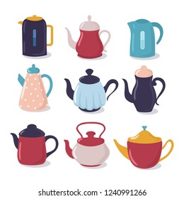 Cartoon kettle set. Teapot with spout kitchenware, household utensils vector collection