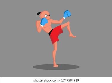 Cartoon-Kickboxer in Kampfhaltung