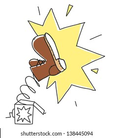 cartoon kicking boot in surprise box. Illustration isolated on white background