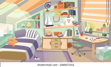 Cartoon Kid Bedroom with boy lifestyle elements, bed, books, desk, bookshelf. Children Bedroom Interior with Furniture and Toys. Vector illustration