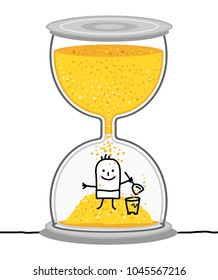 Cartoon Kid in a Big Hourglass