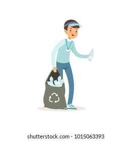 Cartoon kid character collecting empty plastic bottles into black bag. Volunteering concept. Smiling boy in blue jeans, t-shirt and cap. Social activity. Flat vector