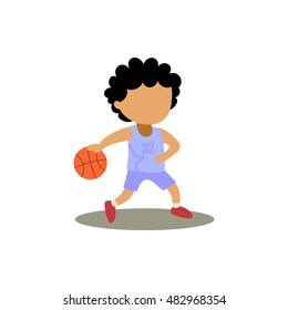 cartoon kid dribbling the basketball. sports vector illustration