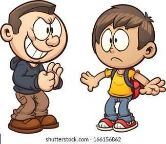 Cartoon kid getting bullied. Vector clip art illustration with simple gradients. Each kid on a separate layer.
