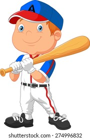 Cartoon kid holding the playing baseball