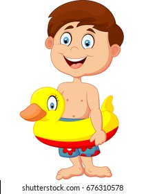 Cartoon kid with inflatable ring