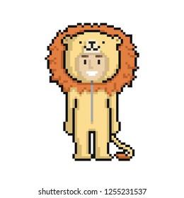 Сute cartoon kid in lion costume. Pixel art on white background. Vector illustration.