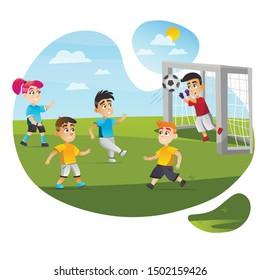 Cartoon Kid Play Football Game Vector Illustration. Boy Goalkeeper Save Goal Catch Ball. Mixed Team Boy Kick Girl Run. Soccer Match Competition on Green Grass Field. Sport Training Childhdren