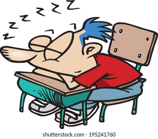 cartoon kid sleeping in class