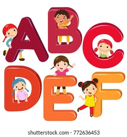 Cartoon kids with ABCDEF letters