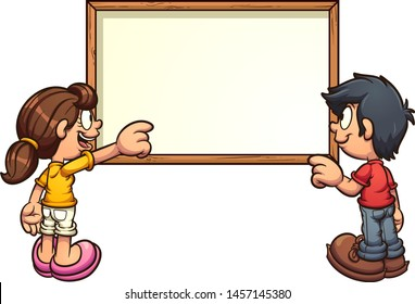 Cartoon kids back view pointing at empty white board clip art. Vector illustration with simple gradients. White board and kids on separate layers. \r\n