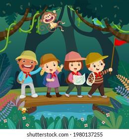 Cartoon von Kindern mit Rucksäcken, die auf einer Holzbrücke über den Fluss im Dschungel laufen. Kinder Sommerlager Konzept.