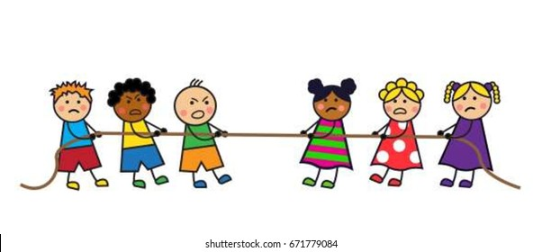 Cartoon kids boys and girls pull the rope