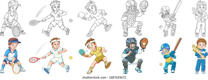 Cartoon kids. Clipart set for activity coloring book, t shirt print, icon, logo, label, patch or sticker. Vector illustration.
