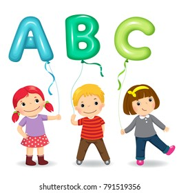 Cartoon kids holding letter ABC shaped balloons