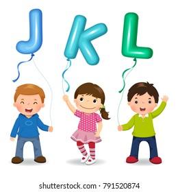 Cartoon kids holding letter JKL shaped balloons