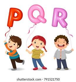 Cartoon kids holding letter PQR shaped balloons