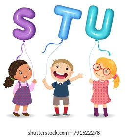 Cartoon kids holding letter STU shaped balloons
