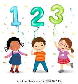Cartoon kids holding number 123 shaped balloons