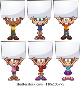 Cartoon kids holding white boards. Vector clip art illustration with simple gradients. Each on a separate layer.