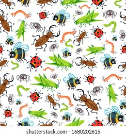 Cartoon kids cartoon insects seamless pattern. Cute children design template. Bright beetles Bee icons for textile, wrapping paper, greeting cards or posters for kindergarten