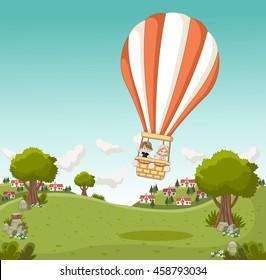 Cartoon kids inside a hot air balloon flying over a green park in the city.