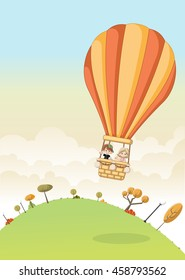 Cartoon kids inside a hot air balloon flying over a green park